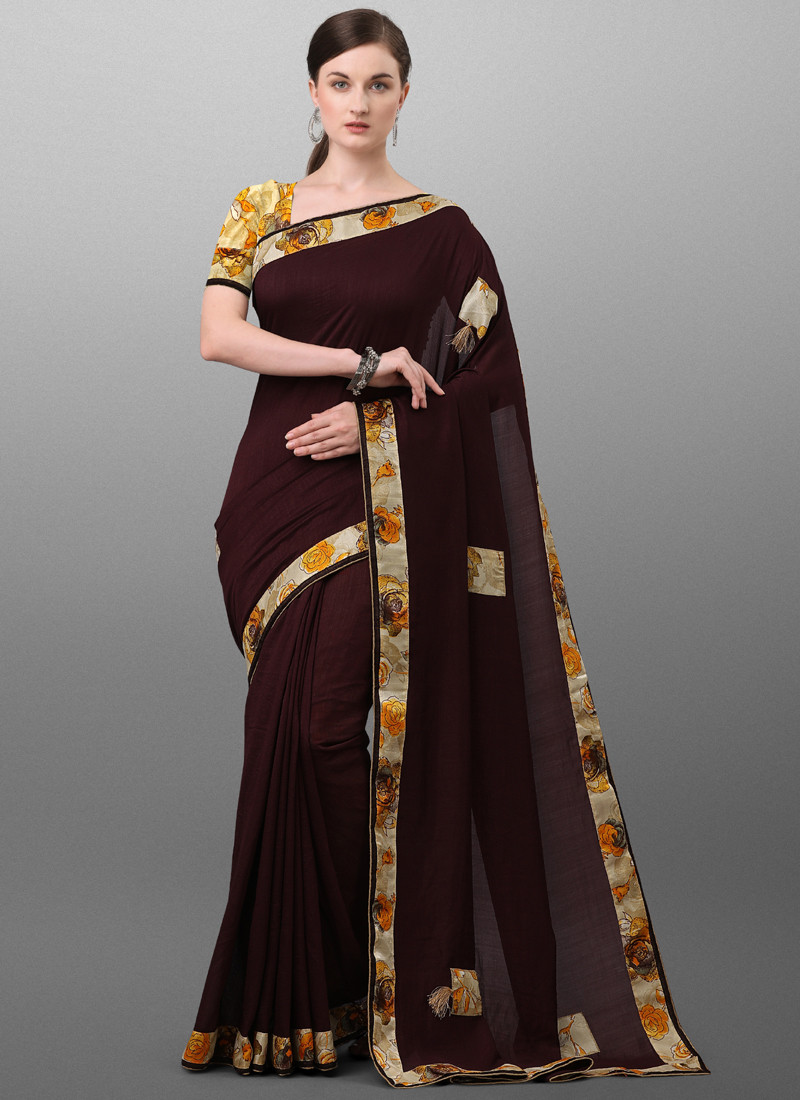 Latest Brown Party Wear Polyester Saree