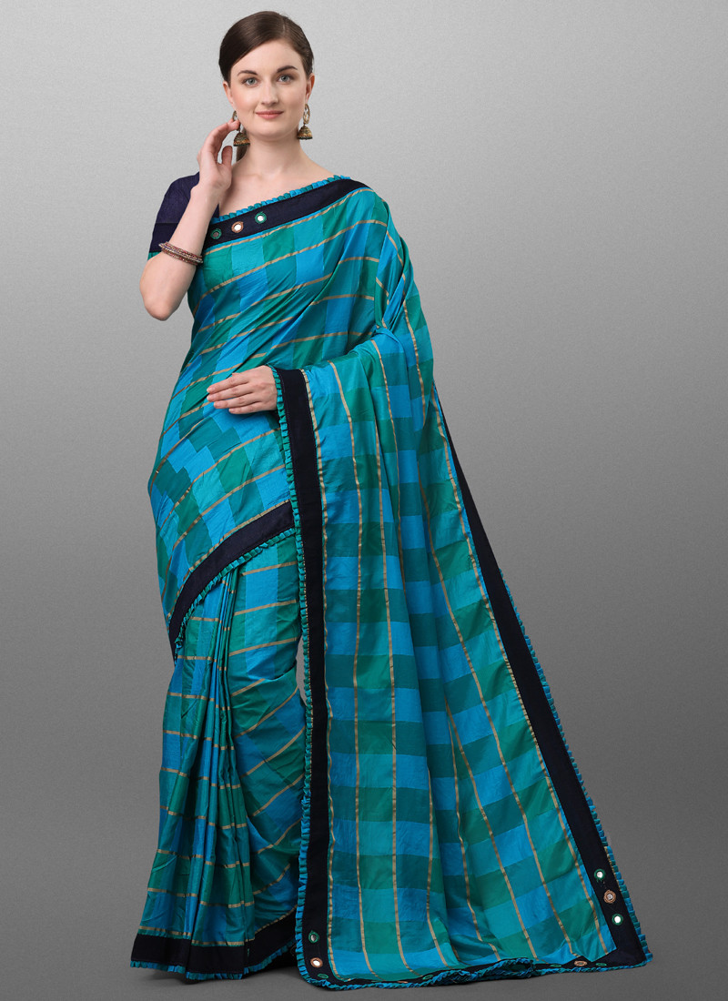 Stylish Turquoise Polyester Checked Saree