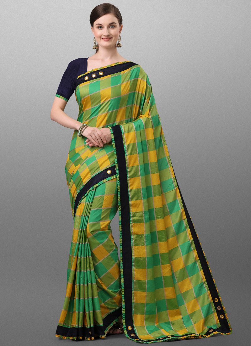 Simple Yellow and Green Checked Polyester Saree