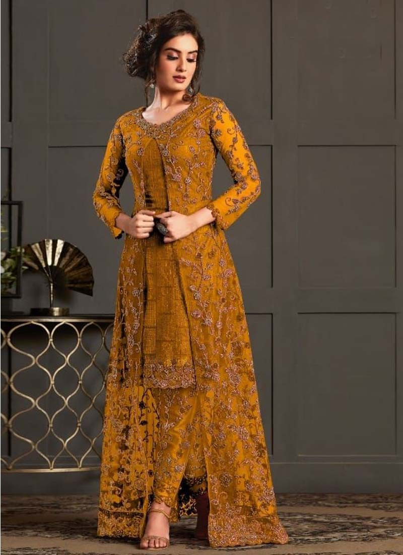 mustard-yellow-embroidered-front-slit-heavy-butterfly-net-salwar-suit