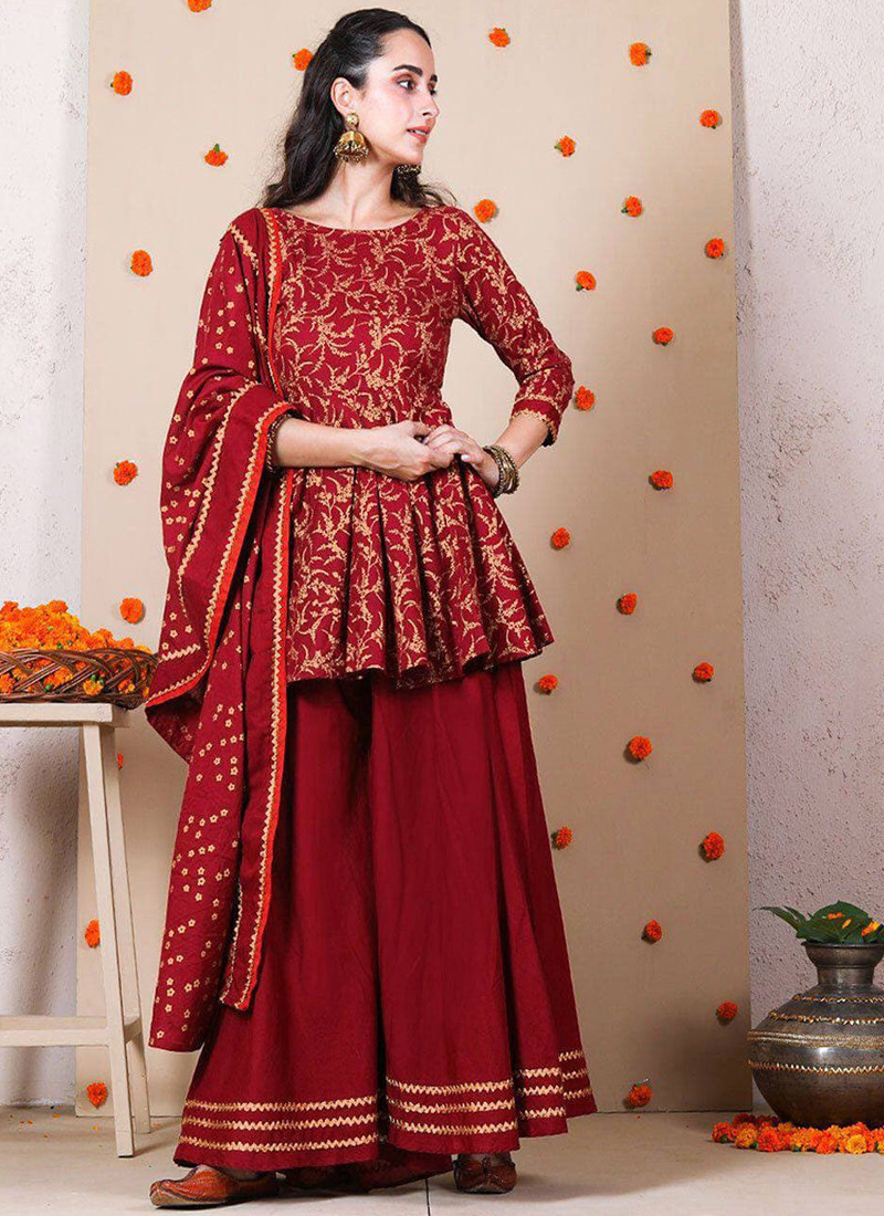 gorgeous-red-party-wear-golden-embroidered-sharara-suit