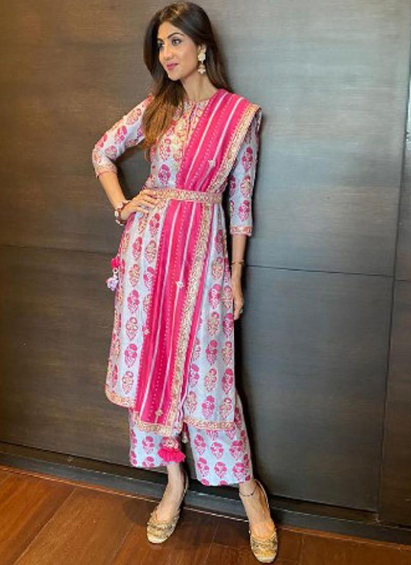 Shilpa Shetty Light Lavender Printed Bollywood Salwar Suit
