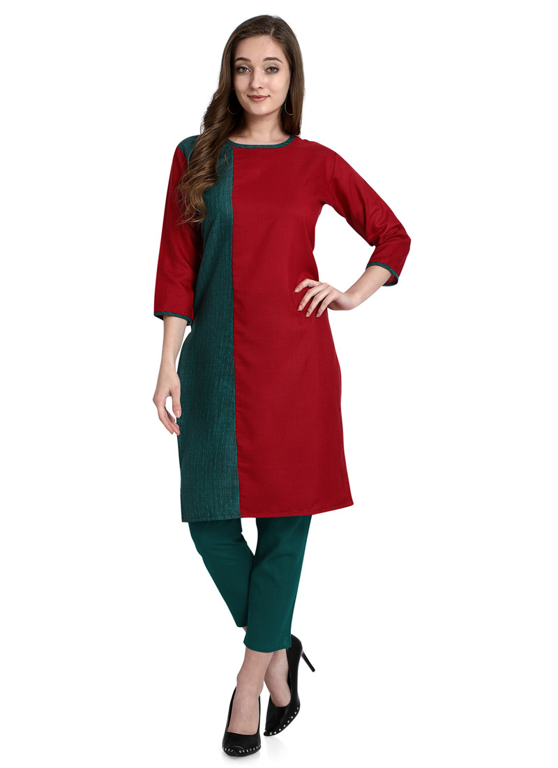 Plain Simple Red and Green Short Cotton Kurti