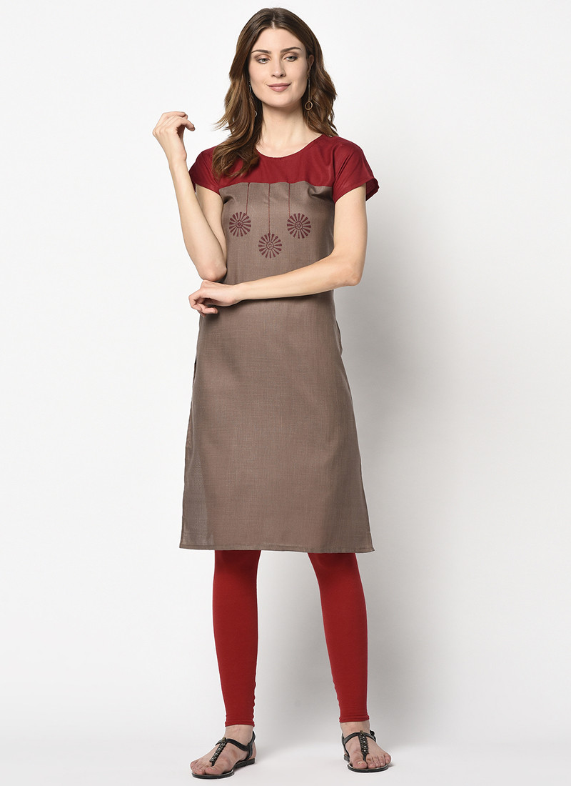 Simple Brown and Red Cotton Printed Kurti