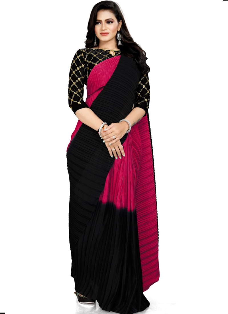 Magnificent Pink Ruffle Saree in Rangoli Silk with Black Blouse