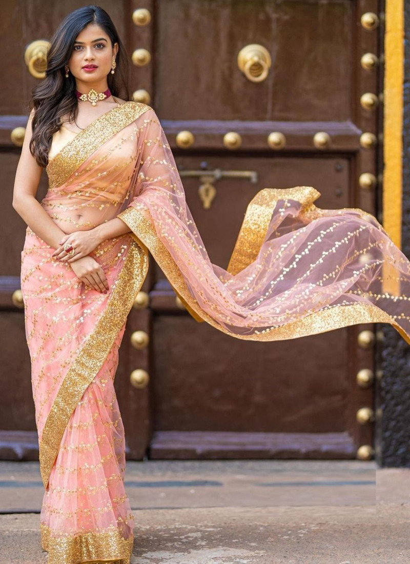 Stunning Peach Bollywood Saree in Heavy Butterfly Net