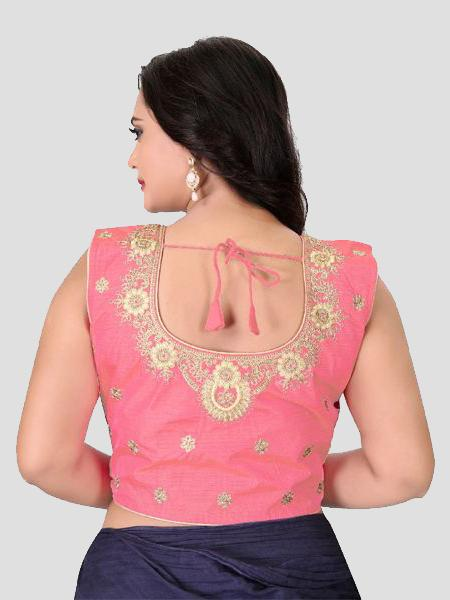 Back Side of Light Pink Embroidered Silk Blouse - YOYO Fashion