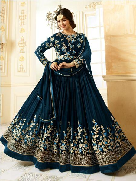 Ayesha Takia Beige Embroidered Blue Anarkali Suit