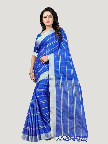 Buy Blue Checked Linen Saree Online - YOYO Fashion