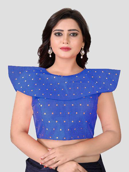 Buy Blue High Neck Silk Solid Blouse