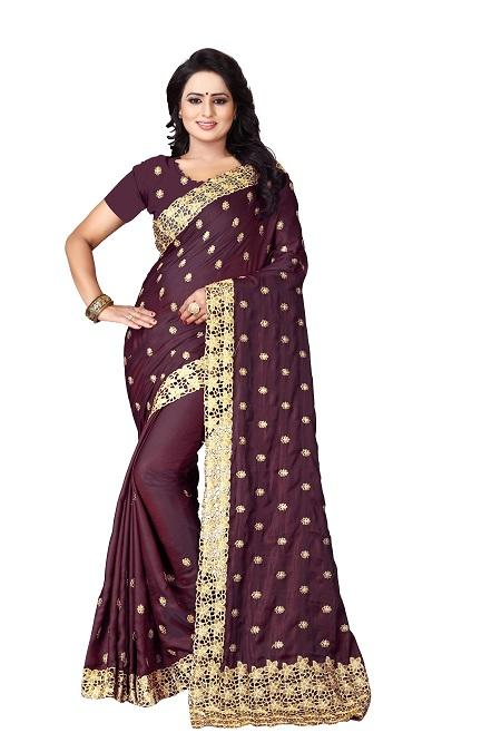 Buy Brown Heavy Work Saree Online - YOYO Fashion
