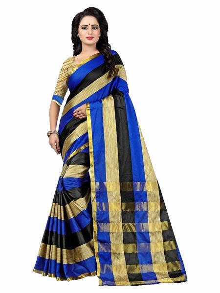 Buy Blue, Black & Golden Striped Silk Saree Online from YOYO Fashion