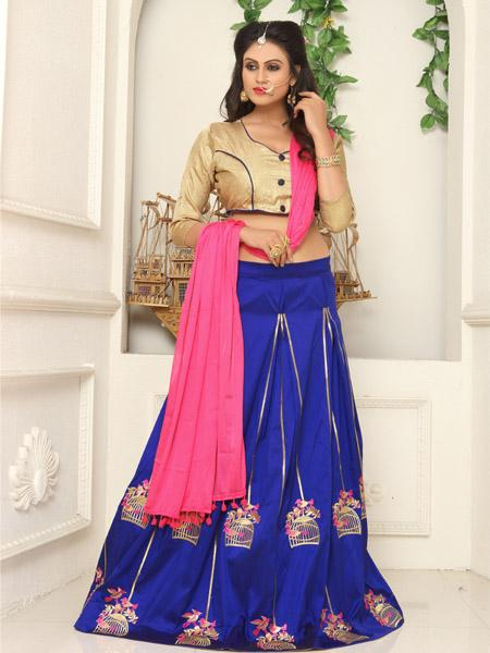 Buy Blue Embroidered Lehenga choli Online from YOYO Fashion