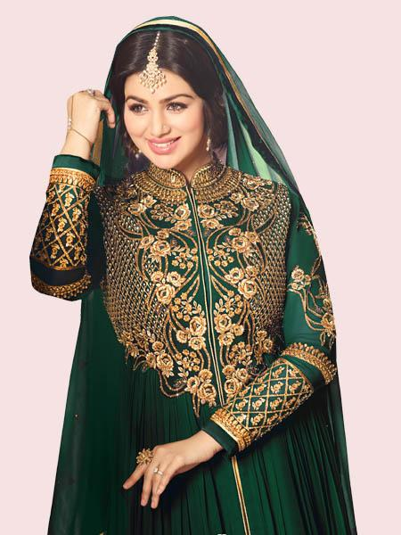 Buy Golden Embroidered Green Anarkali Suit Online - YOYO Fashion