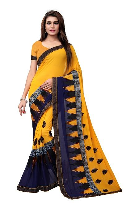 Buy Mustard Georgette Embroidery Saree Online from YOYO Fashion