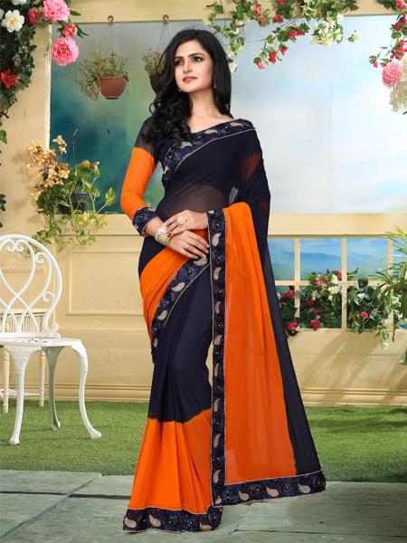 Buy Orange and Black Georgette Saree Online from YOYO Fashion