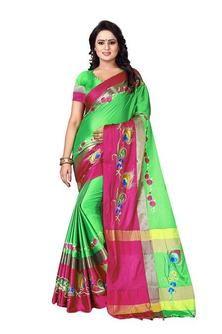 Buy Thread Work Green Pink Polyester Saree Online from YOYO Fashion