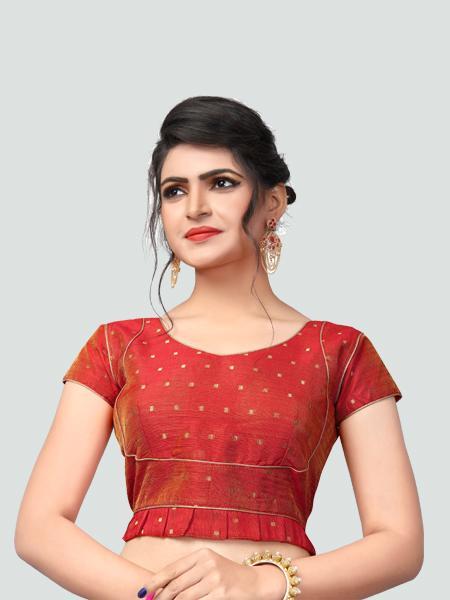 Designer Red Silk Saree Blouse