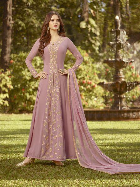 Buy Designer Light Pink Anarkali Salwar Suit Online - YOYO Fashion