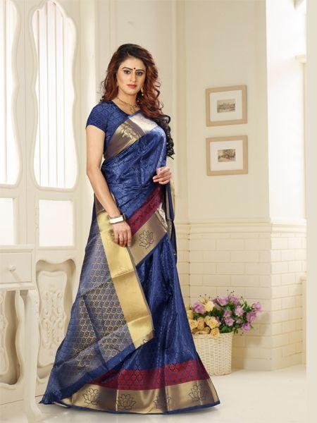 Buy Designer Blue jacquard Silk Saree Online - YOYO Fashion
