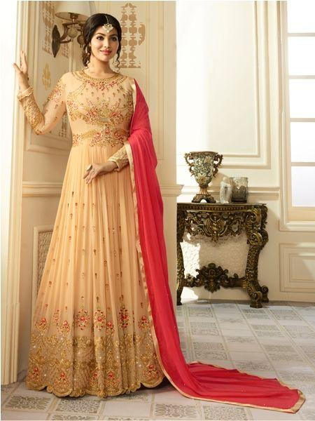 Buy Designer Faux Georgette Beige heavy Embroidered and Hand work Anarkali Suit Online- YOYO Fashion