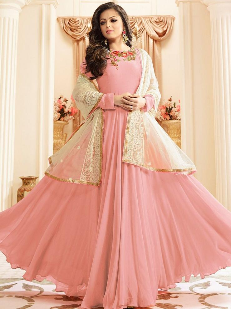 Drashti Dhami Designer Faux Georgette Umbrella Cut Anarkali Salwar Suit