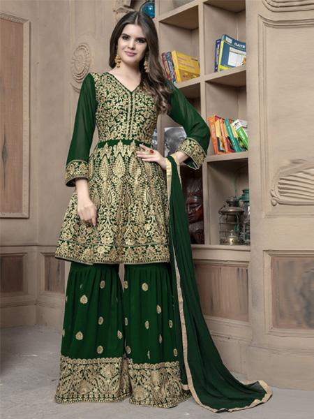 Indian Designer Girls Green Pakistani Sharara Suit 2020