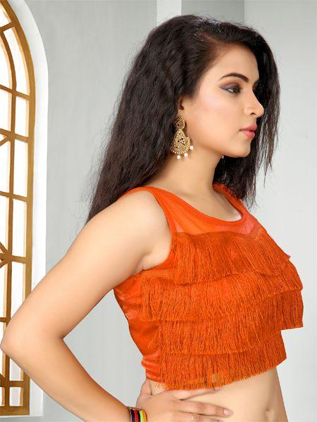 Buy Designer Orange Ruffle Saree Blouse Online - YOYO Fashion