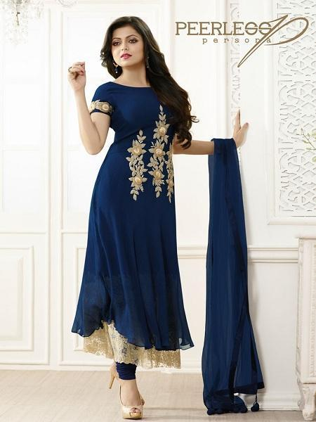Buy Embroidered Blue & Beige Anarkali Suit Online - YOYO Fashion