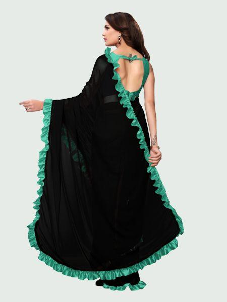 Pallu of Latest Firozi and Black Ruffle Saree for Women Online - YOYO Fashion