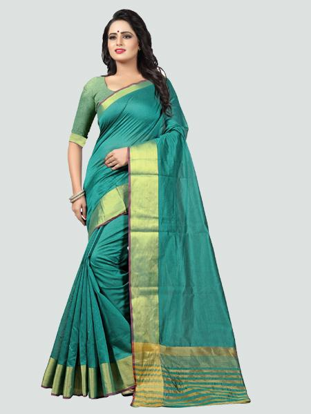Buy Plain Turquoise Silk Saree with Golden Border Online from YOYO Fashion