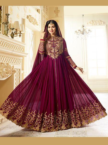 Ayesha Takia Golden Embroidered Wine Anarkali Suit