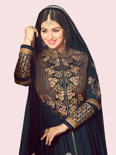 Buy Golden Embroidered Navy Blue Anarkali Suit Online On YOYO Fashion
