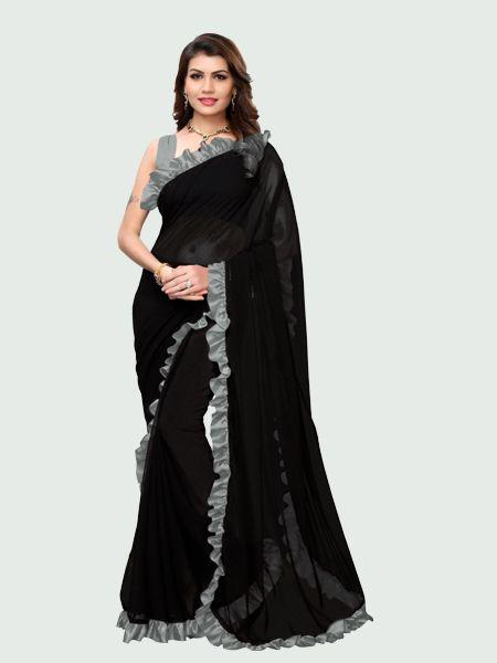 Grey and Black Ruffle Saree Online - YOYO Fashion