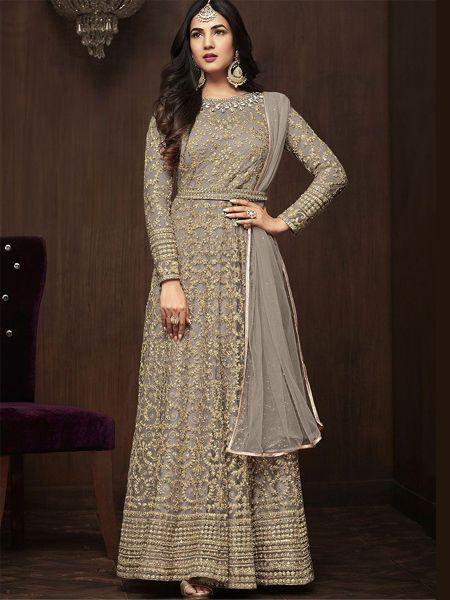 Buy Sonal Chauhan Designer Grey Bollywood Anarkali Salwar Suit Online From YOYO Fashion