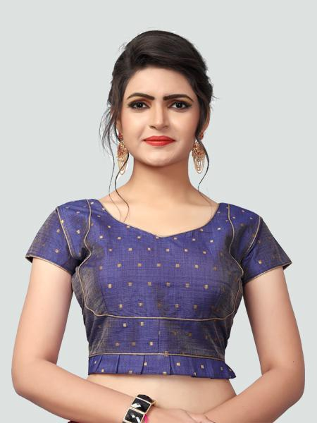 Designer Blue Silk Saree Blouse