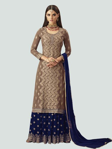 Shop Latest Designer Beige and Blue Sharara Suit Design from YOYO Fashion