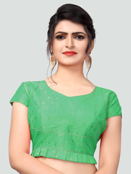 Designer Green Silk Saree Blouse