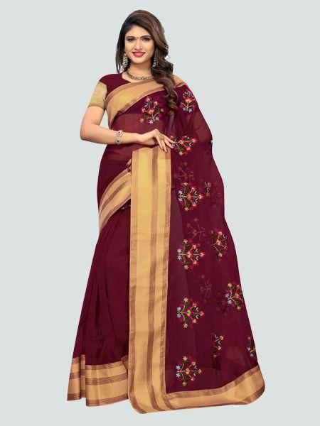 Buy Latest Poli Net Maroon Embroidered Saree Online -YOYO Fashion.
