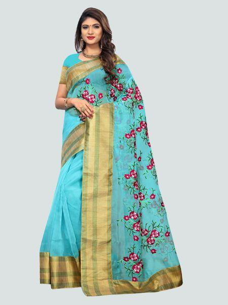 Designer Poli Net Sky Blue Embroidered Saree