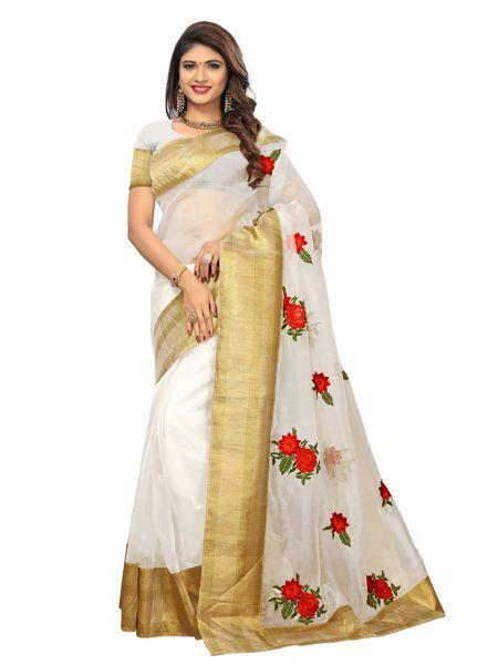 Buy Latest Poli Net White Embroidered Saree Online On YOYO Fashion.