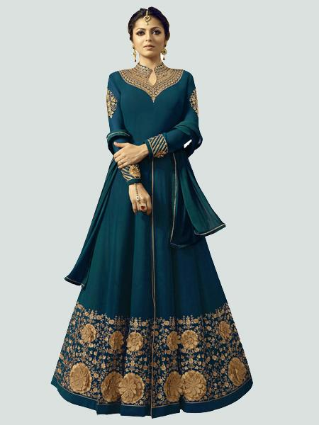 Drashti Dhami Designer Turquoise Bollywood Anarkali Dress
