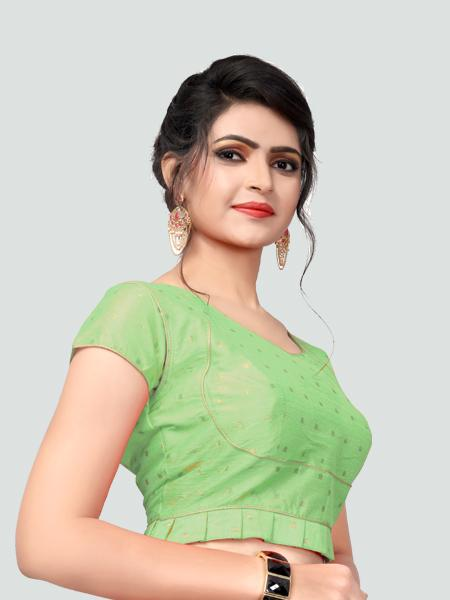 Left Side of Light Green Silk Saree Blouse for Women - YOYO Fashion