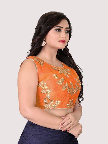 Orange Round Neck Women's Stitched Blouse Online On YOYO Fashion