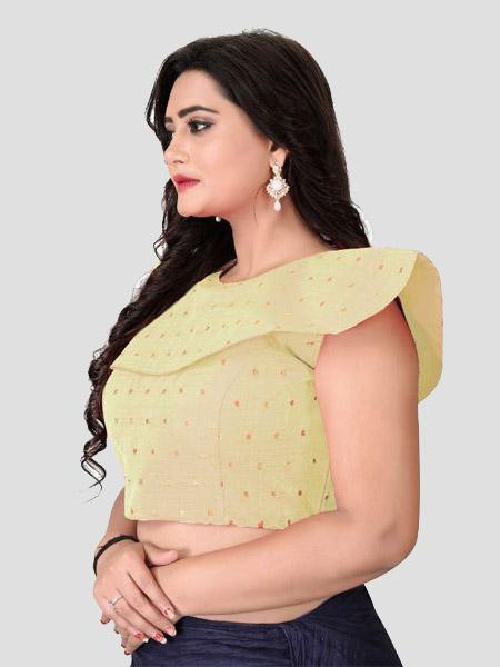 Left Side of Beige Silk Blouse - YOYO Fashion