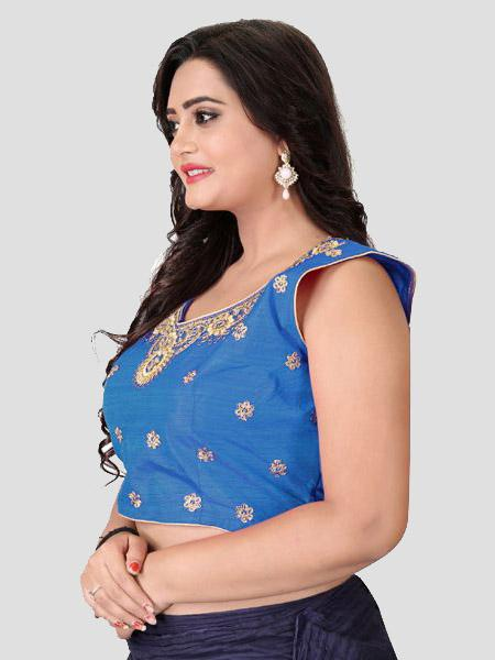 Left Side of Blue Embroidered Silk Blouse - YOYO Fashion
