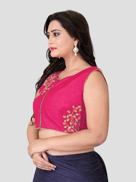 Left Side of Pink Embroidered Silk Blouse - YOYO Fashion