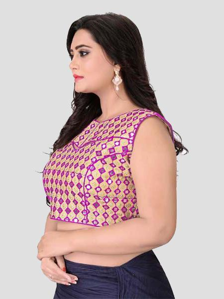 Left Side of Pink Mirror Work Blouse - YOYO Fashion