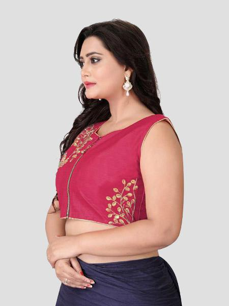 Left Side of Red Embroidered Silk Blouse - YOYO Fashion