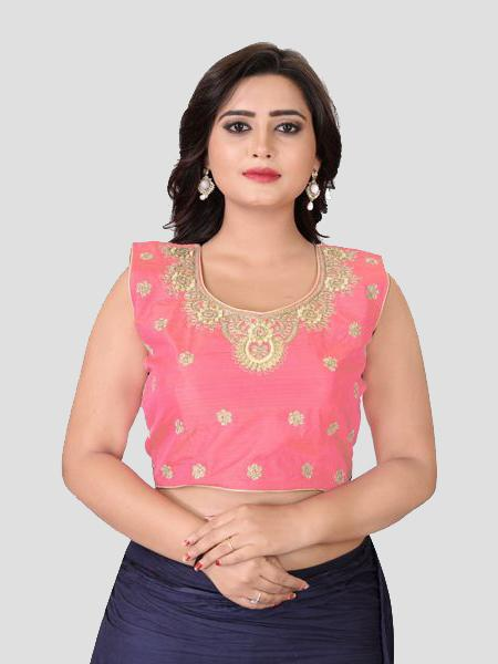 Buy Light Pink Embroidered Silk Blouse - YOYO Fashion